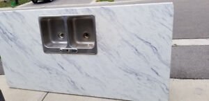 Top mount stainless steel Kitchen Sink Double Basin. $15 OBO