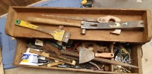ANTIQUE WOODEN TOOL BOX WITH ALL CONTENTS