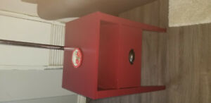 2 red side tables