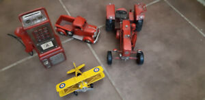 Tin Toys Tractor, Airplane, Truck, and Payphone Bank