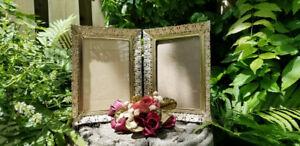 Vintage Hollywood Regency Double 5 X 7 Gold Metal Filigree Frame