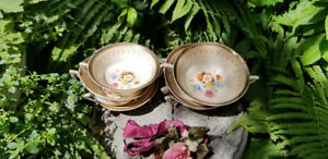 Vintage Fine Bone English China Double Handle Dessert Cups