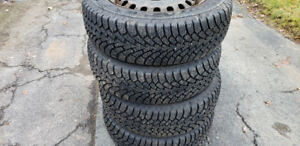 "4 Tires 225/60 R17"" GoodYear Nordic Winter Tires w/ Rims"