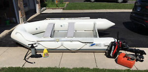 12 FT, Inflatable Boat with Rigid Floor and Motor