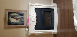 French provincial fireplace mantel and surround