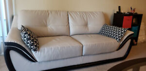 Grey black color combination gently used sofa for sale