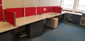Light grey office desks