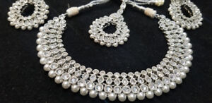 Silver/Rhodium Polki Necklace Set with Pearls