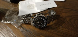 Versace V-Race Diver Watch in silver/black