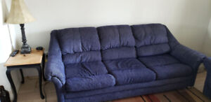 Matching Blue Fabric Couch and Loveseat