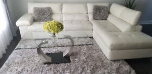 L shape white leather sofa set for sale