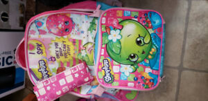 Brand new Shopkins backpack, lunch kit and pencil case