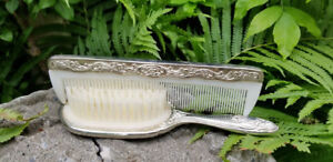 Vintage Solid Silver Plated Relief Vanity Hair Brush & Comb Set