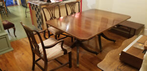 Antique mahogany dinning set with 6 chairs