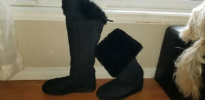 Ugg boots knee high black in color