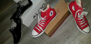 Red Converse and Black Aldo men's shoes