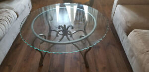 Very stylish glass top table and glass top side tables