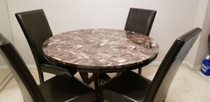 BROWN COLOUR STONE TOP 4 LEATHER CHAIR DINNING TABLE