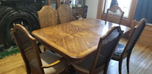 Large Wooden Table, 6 Chairs and Hutch