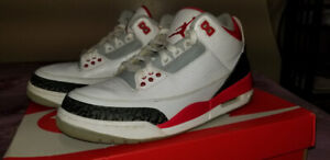 Air Jordan Fire Red 3's [Size 7.5] + Free Keychain