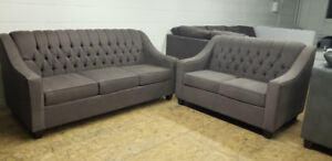 Brand New In Box Canadian Made Elegant Tufted Sofa + Love seat