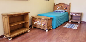 Adorable Wooden Childrens 4 piece Sports Theme Bedroom Set