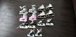 Boys and girls ice skates boys y8,6,12,12 & girls 5  and expanda