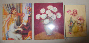 3 plaque mounted pictures