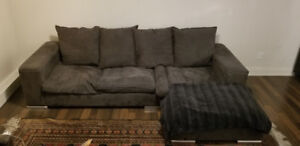Grey Suede Couch/Sectional For Sale