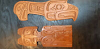 Wood carvings by Squamish born artist Art Harry.