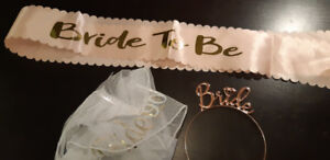 Bride accessories (veil, tiara, sash) for bachelorette party!