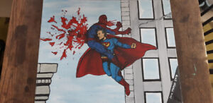 Superman vs Spiderman  canvas painting! Must see !!