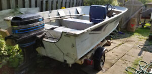15.5 foot Aluminum Deep-V fishing boat, motor, trailer.