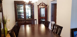 7-Piece Dinette Set - Espresso Brown + Buffet Hutch