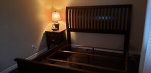King headboard with bedframe and night stand for sale.