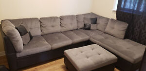 L shape couch set with ottoman