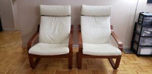 IKEA Poang Armchairs x 2 (Medium Brown, Robust Glose Off-White)