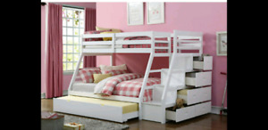 Bunk bed with steps and trundle