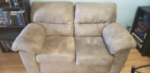 Suede beige brown couch and loveseat