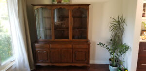 Dining room wall unit / hutch - 2 piece in Great shape (wood)