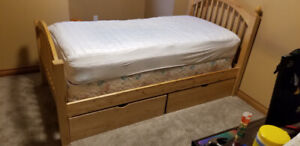 Solid Birch Bed with Storage