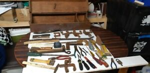 ANTIQUE WOODEN TOOL BOX WITH CONTENTS-SEE AD DETAILS