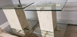 Travertine, glass and brass mid century modern tables.