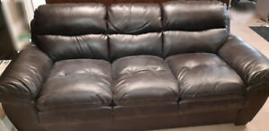 Leather couch and matching loveseat
