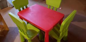 IKEA MAMMUT - Table & Chair Set with Shelf