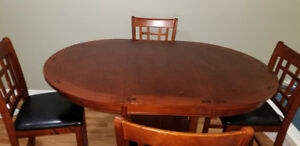 Dining Table 5pc: Counter-Height Mahogany Brown with 4 Chairs