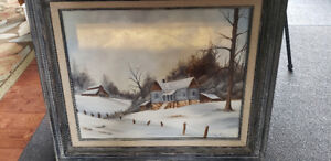 Original Oil Painting, Winter Scene, Signed by Artist