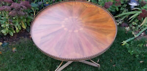 Antique Marquetry Brass Accent Table, End Table, Entry Table