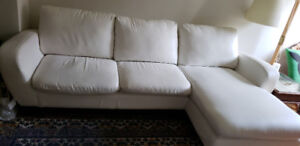 Free - As IS - Buffered Leather Sectional Sofa . white