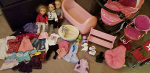 Dolls and accessories, including stroller, wheelchair, clothes
